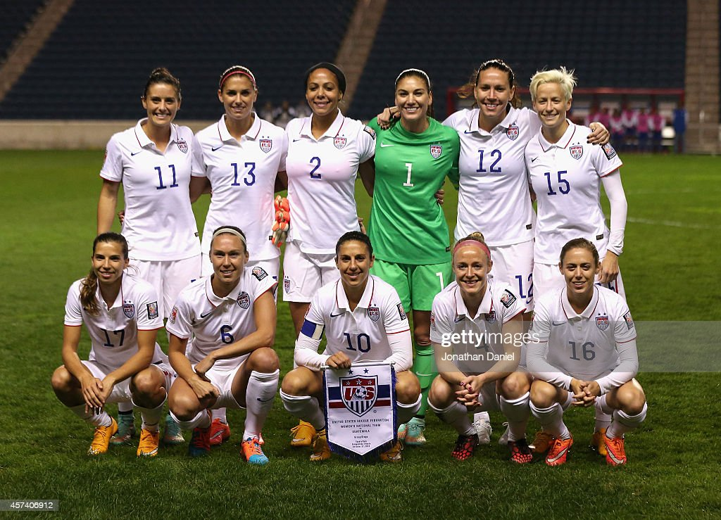 The starting 11 of the United States pose before a match against Guatemala during the 2014 CONCACAF Women's Championship at Toyota Park on October 17, 2014 in Bridgeview, Illinois. The United States defeated Guatemala 5-0.