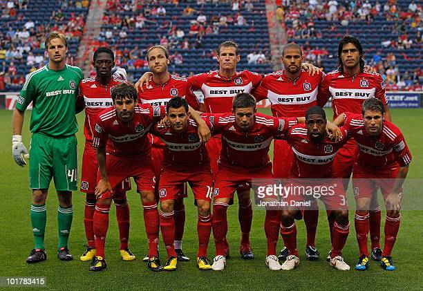 The starting 11 players from the Chicago Fire Andrew Dykstra Patrick Nyarko Justin Mapp Brian McBride CJ Brown Wilman Conde and Baggio Husidic Marco...