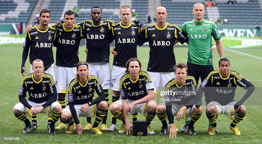 The starting eleven for AIK pose before the game against the FC Dallas at Jeld-Wen Field on February 17, 2013 in Portland, Oregon.