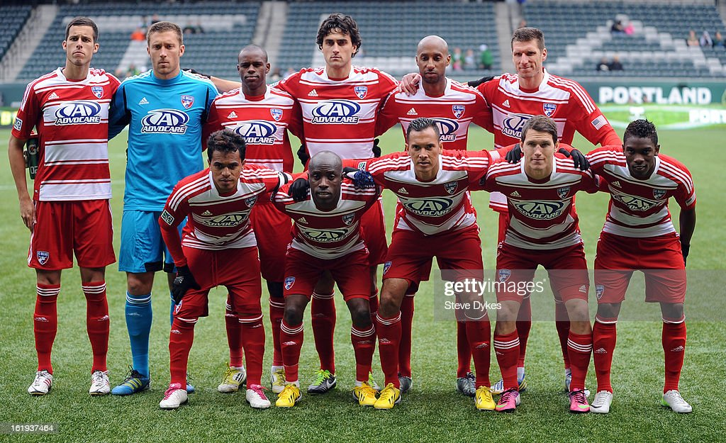 The starting eleven for FC Dallas pose before the game against the AIK at Jeld-Wen Field on February 17, 2013 in Portland, Oregon.