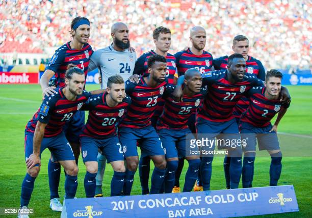 The starting eleven for the United States during the Gold Cup Final match between United States verses Jamaica at Levi's Stadium in Santa ClaraCA on...
