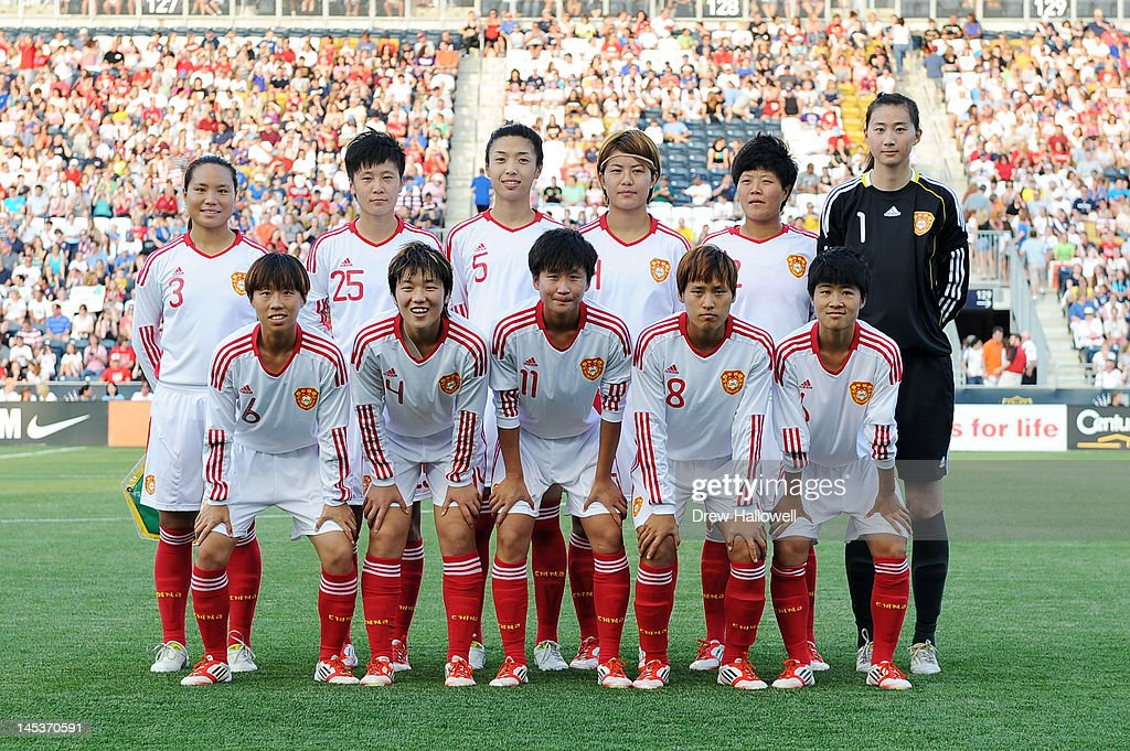 The starting eleven players for China's women soccer team pose for a photograph before playing USA at PPL Park on May 27, 2012 in Chester, Pennsylvania. USA won 4-1.