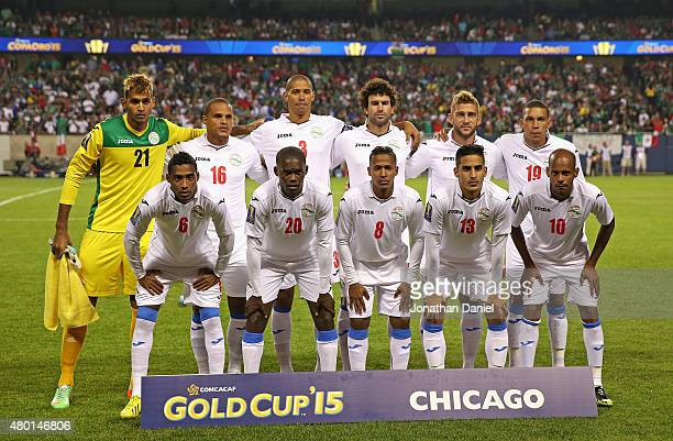 The starting eleven players for Cuba pose before a match in the 2015 CONCACAF Gold Cup against Mexico at Soldier Field on July 9 2015 in Chicago...