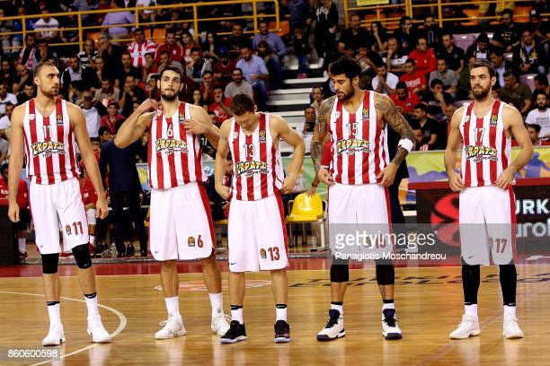 The starting five of Olympiacos line up during the 2017/2018 Turkish Airlines EuroLeague Regular Season Round 1 game between Olympiacos Piraeus v...