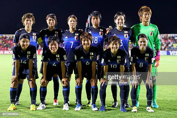 The starting line up for Japan stands for a photo before their Group B match against the Nigeria in the FIFA U20 Women's World Cup Papua New Guinea...