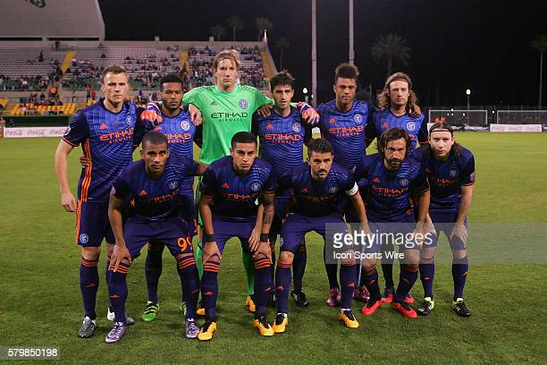 The starting line up for NYC FC pose together before the preseason MLS match between the New York City FC and the Montreal Impact at Florida Citrus...