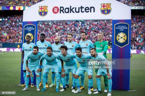The starting line up including Luis Suarez of Barcelona Lionel Messi of Barcelona Neymar of Barcelona Jasper Cillessen of Barcelona Javier Mascherano...