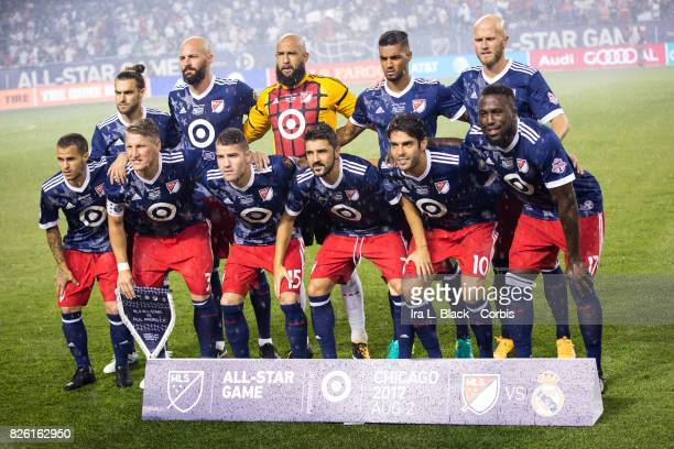 The starting line up of the MLS AllStar team including Tim Howard of the United States Greg Garzaj of United States Johan Kappelhof of United States...