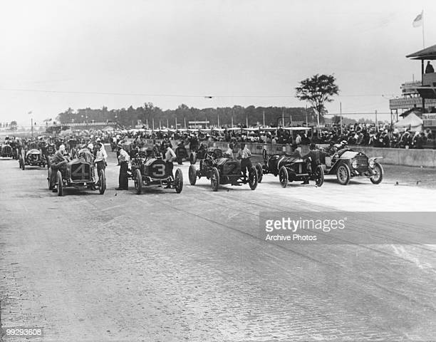 The starting lineup at the first ever Indianapolis 500 motor race at Indianapolis Motor Speedway in Speedway Indiana 1911 Front row left to right...
