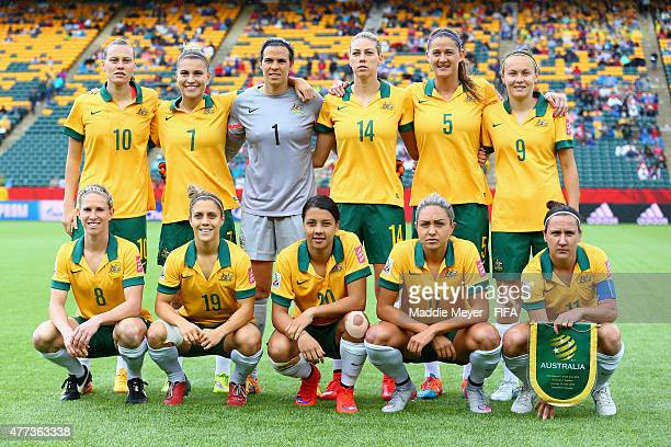 The starting lineup for Australia before their Women's World Cup 2015 Group B match against Sweden at Commonwealth Stadium on June 16 2015 in...
