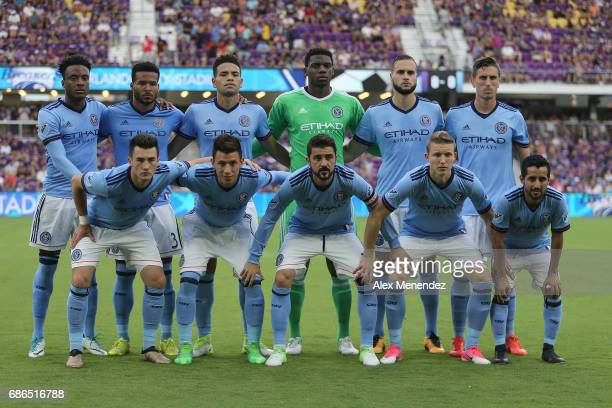 The starting lineup for NYCFC is seen during a MLS soccer match between New York City FC and the Orlando City SC at Orlando City Stadium on May 21...