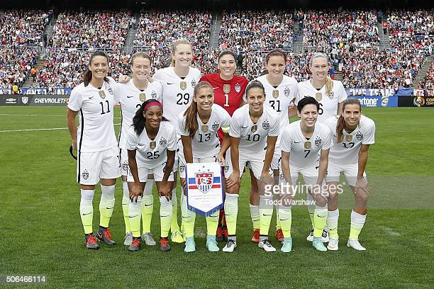 The starting lineup for the United States Women's National Soccer Team pose for a photo before playing Ireland at Qualcomm Stadium on January 23 2016...