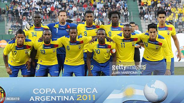 The starting lineup of the Ecuadorean national football team midfielder Segundo Castillo goalkeeper Marcelo Elizaga defender Frickson Erazo forward...