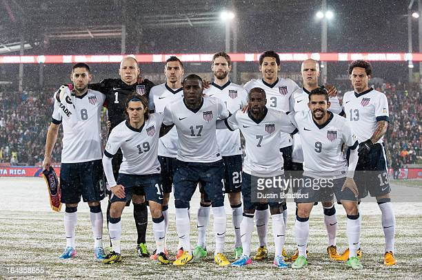 The starting lineup of the United States national team including Clint Dempsey Brad Guzan Graham Zusi Jozy Altidore DaMarcus Beasley Omar Gonzalez...