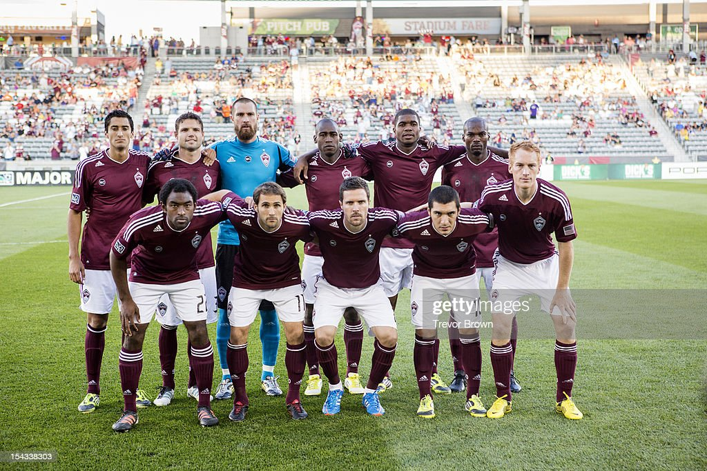 The starting lineup ofthe Colorado Rapids pose for a photo before their MLS match againstChivas USA at Dick's Sporting Goods Park September 18 2012...
