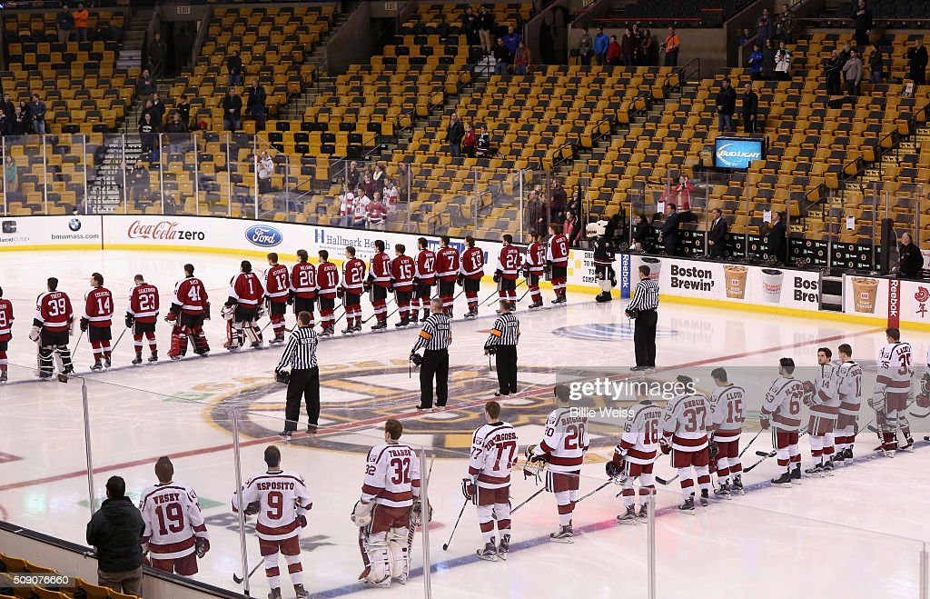 The starting lineups of Northeastern University and Harvard University are introduced during the Beanpot Tournament consolation game at TD Garden on February 8, 2016 in Boston, Massachusetts.