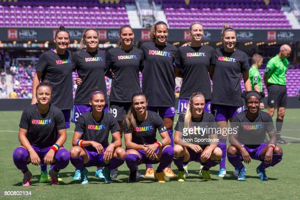 The starting players for the Orlando Pride wearing shirts in support of equality before the NWSL soccer match between the Houston Dash and Orlando...