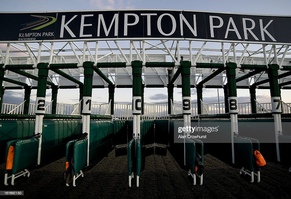 The starting stalls at Kempton racecourse on February 14, 2013 in Sunbury, England.