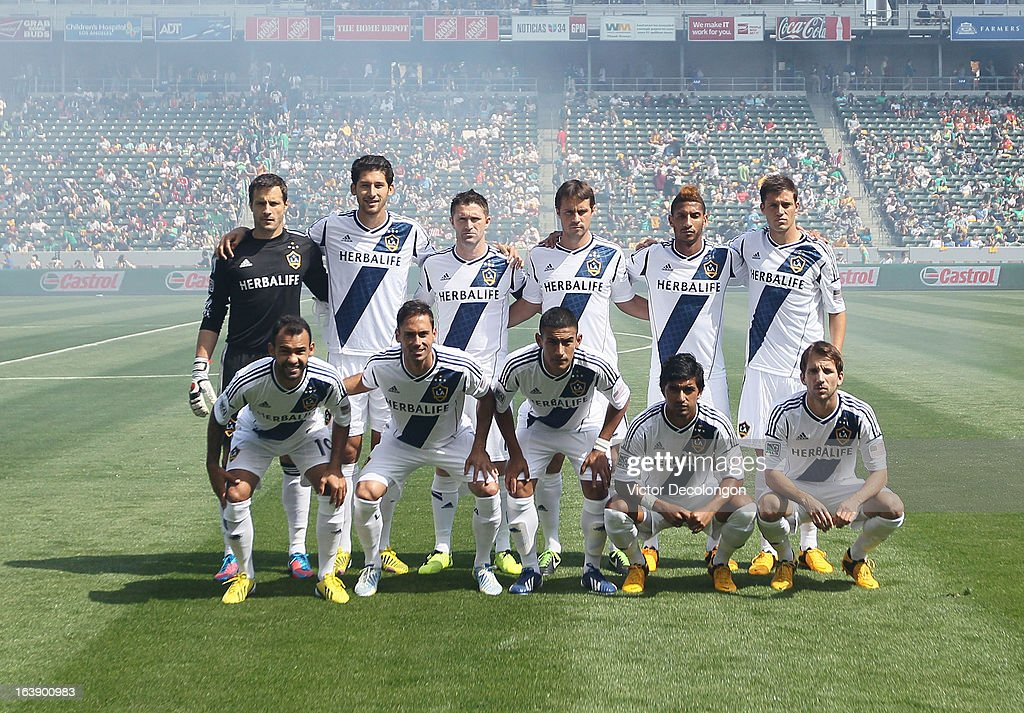 The Starting XI of the Los Angeles Galaxy pose for a group photo prior to the MLS match against Chivas USA at The Home Depot Center on March 17, 2013 in Carson, California. Chivas USA and the Los Angeles Galaxy played to a 1-1 draw.
