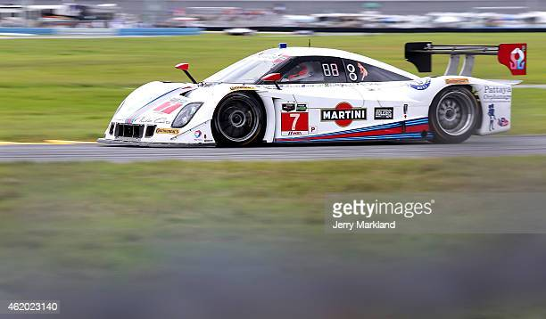 The Starworks Motorsports Riley DP driven by Brendon Hartley Rubens Barrichello Ryan HunterReay Tor Graves and Scott Mayer on track during practice...