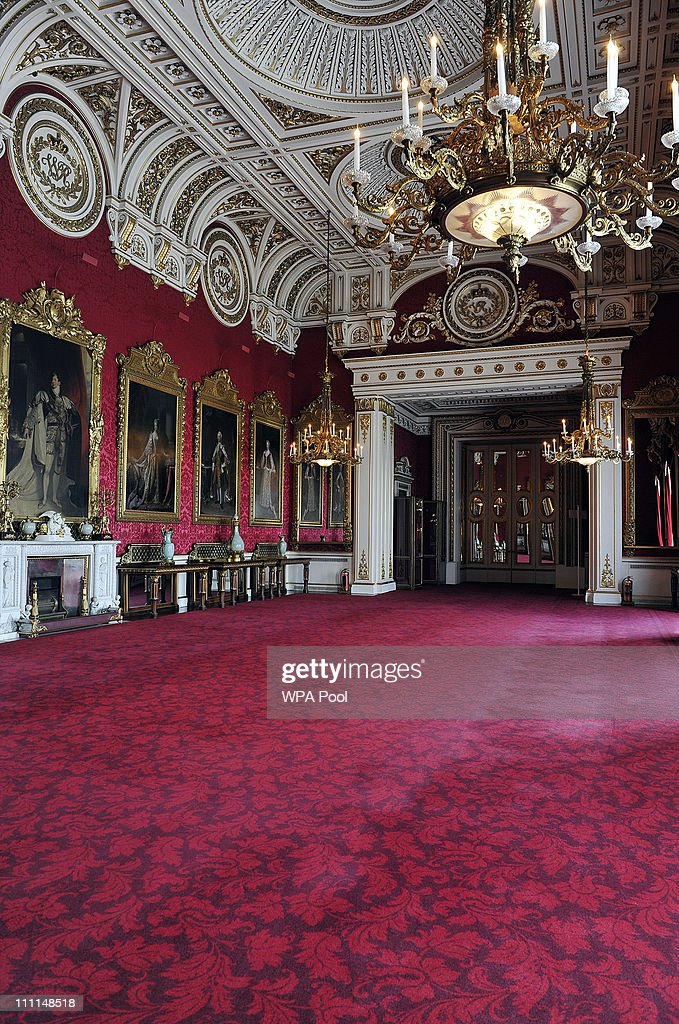 The State Dining Room, which will be used during the Wedding reception of Prince William and Kate Middleton at Buckingham Palace on March 25, 2011 in London, England. Prince William will marry his long term girlfriend Kate Middleton on April 29, 2011 at Westminster Abbey and it was reported that the couple had chosen two Wedding cakes for their big day - a 'multi-tiered traditional fruit case with a floral design and a chocolate biscuit cake.'