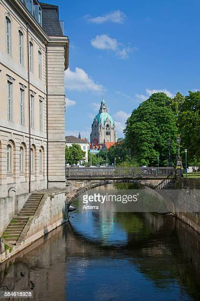 The state parliament in the former Leineschloss castle and the New City Hall / Neues Rathaus in Hannover Lower Saxony Germany