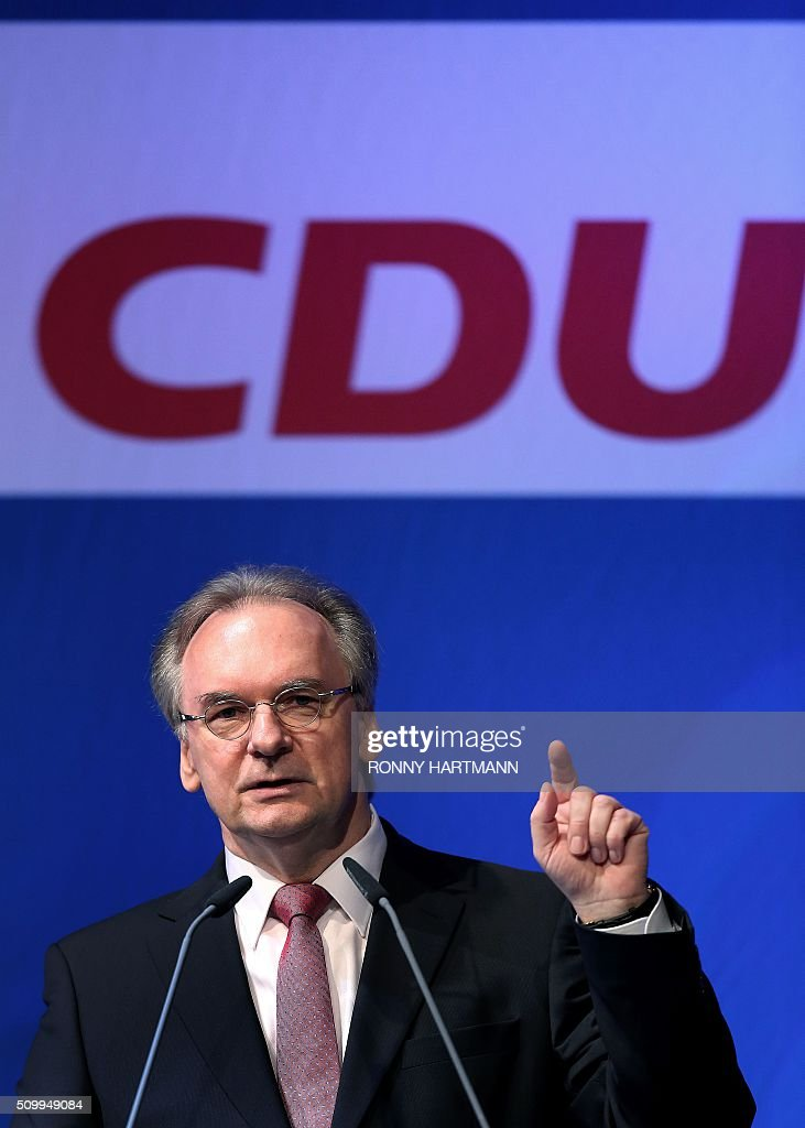 The State Premier of the federal state of Saxony-Anhalt, Reiner Haseloff, launches the election campaign of his Christian Democratic Union (CDU) party for state elections in Magdeburg, eastern Germany, on February 13, 2016. Regional elections in three German federal states - Saxony-Anhalt, Rhineland Palatinate and Baden-Wuerttemberg - will take place on March 13, 2016. / AFP / Ronny Hartmann