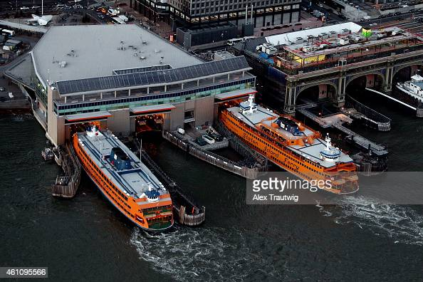 The Staten Island Ferry is seen at the Whitehall Terminal from above on December 30 2014 in New York City