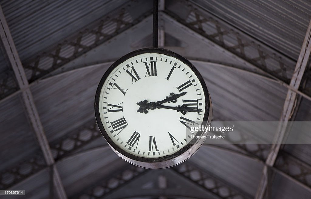The station clock in the old railway station pictured on April 30 2013 in Matputo Mosambique