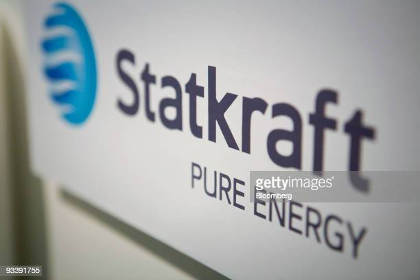 The Statkraft logo sits on display at the prototype of the world's first osmotic power station in Tofte Norway on Tuesday Nov 24 2009 Statkraft SF...