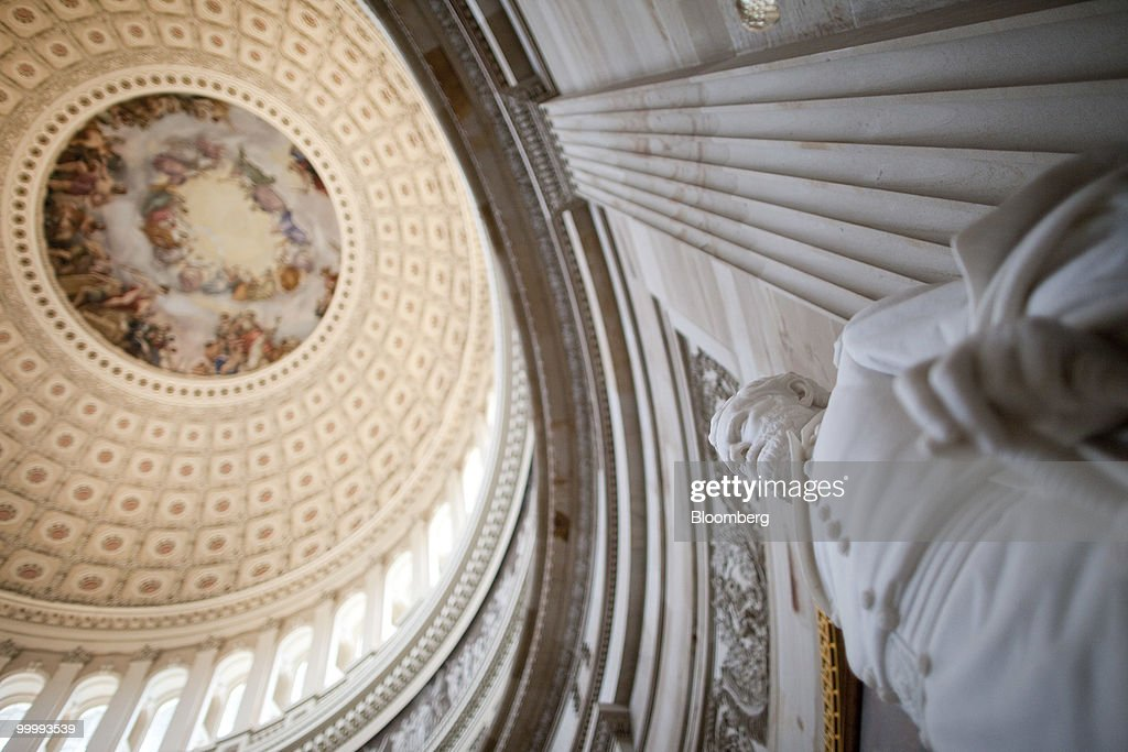 The statue of 18th U.S. President Ulysses S. Grant stands in the Capitol building rotunda in Washington, D.C., U.S., on Monday, May 17, 2010. The Capitol is the meeting place for the Senate and House of Representatives. Photographer: Andrew Harrer/Bloomberg via Getty Images