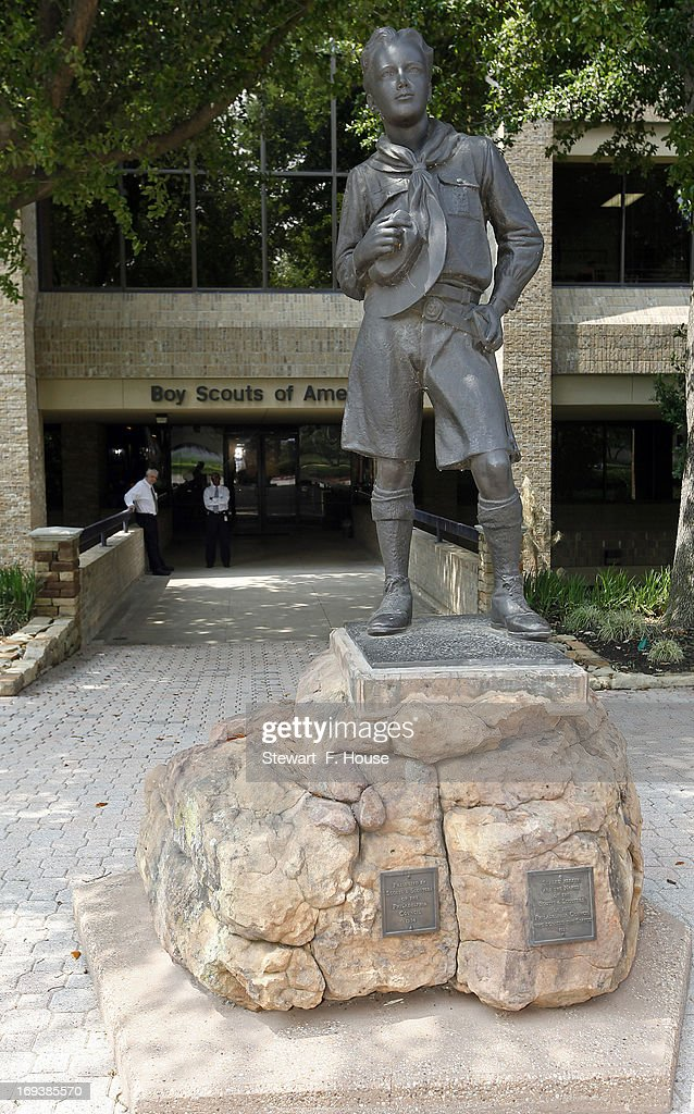 The statue of a scout donated by the Philadelphia Council stands in front of the Boy Scouts of America headquarters at 1325 Walnut Hill Lane May 23, 2013 in Irving, Texas. The Boy Scouts of America today ended its policy of prohibitting openly gay youths from participating in Scout activities, while leaving intact its ban on gay adults and leaders.
