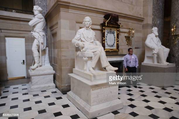 The statue of Alexander Hamilton Stephens who was the Confederate vice president throughout the Civil War stands inside of Statuary Hall inside the...