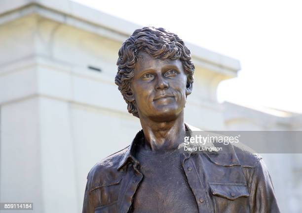 The statue of Anton Yelchin is seen at the Anton Yelchin life celebration and statue unveiling ceremony at Hollywood Forever on October 8 2017 in...