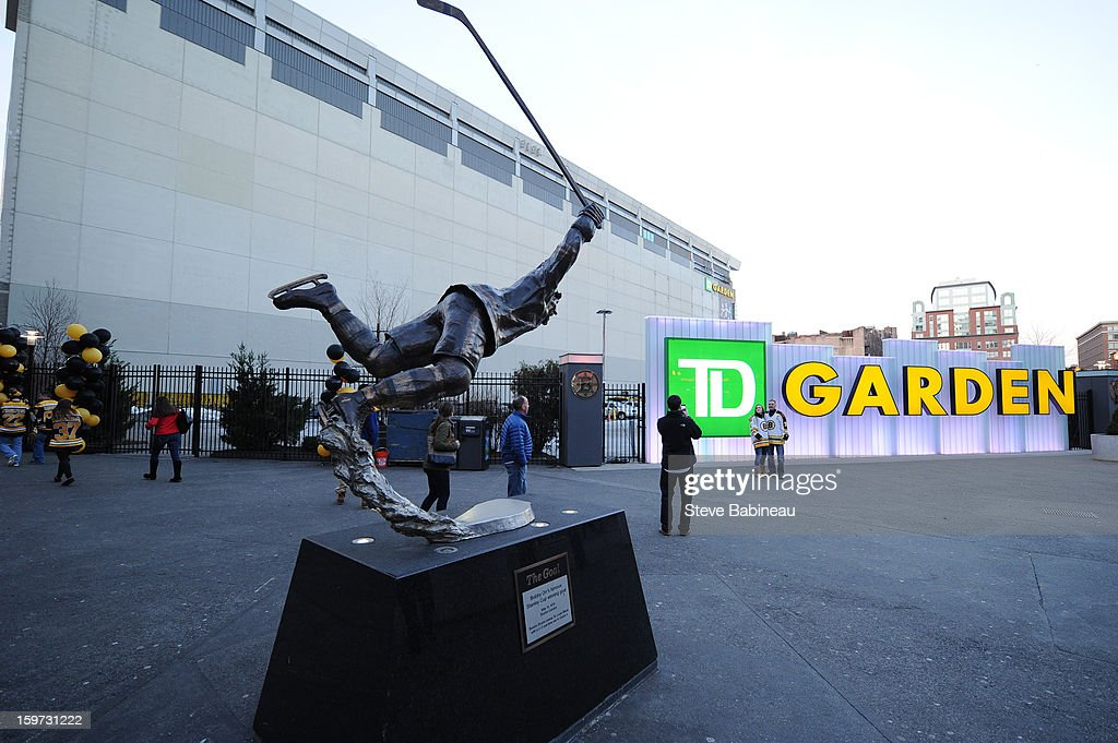 The statue of Bobby Orr is shown outside TD Garden before a game between the Boston Bruins and the New York Rangers at the TD Garden on January 19, 2013 in Boston, Massachusetts.