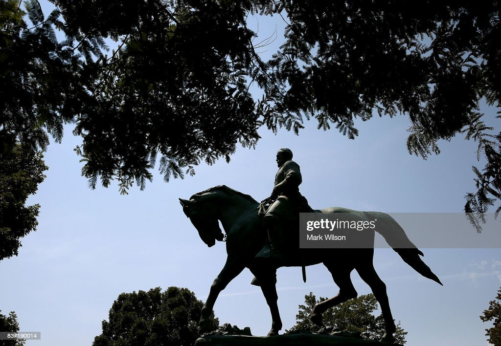 The statue of Confederate Gen. Robert E. Lee stands in the center of the renamed Emancipation Park on August 22, 2017 in Charlottesville, Virginia. A decision to remove the statue caused a violent protest by white nationalists, neo-Nazis, the Ku Klux Klan and members of the 'alt-right'.
