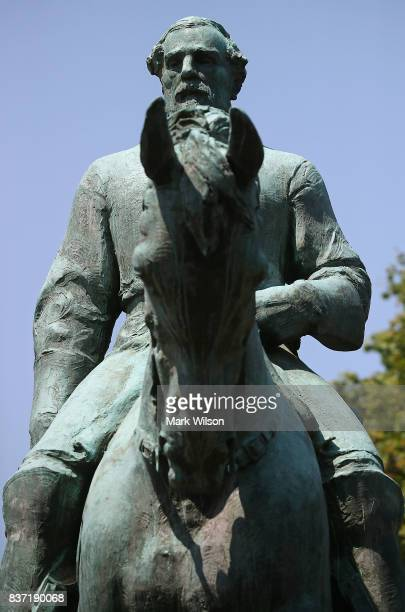 The statue of Confederate Gen Robert E Lee stands in the center of the renamed Emancipation Park on August 22 2017 in Charlottesville Virginia A...