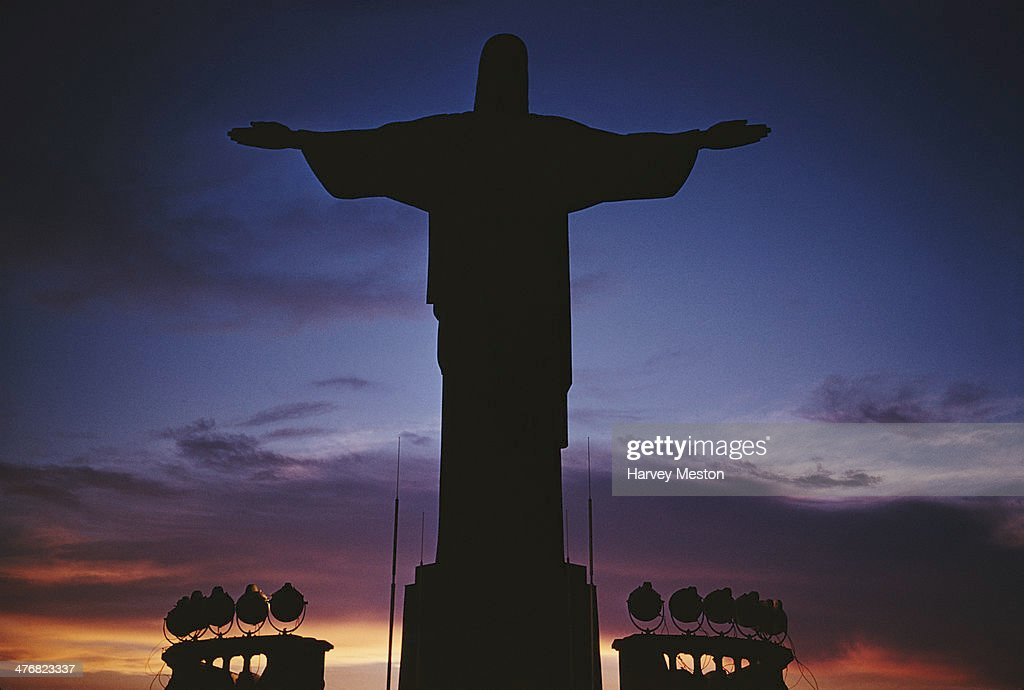 The statue of Cristo Redentor or Christ the Redeemer on the Corcovado mountain in Rio de Janeiro, Brazil, circa 1960.