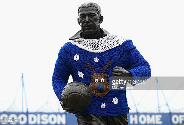 The statue of Dixie Dean wears a Christmas jumper ahead of the Barclays Premier League match between Everton and Stoke City at Goodison Park on...