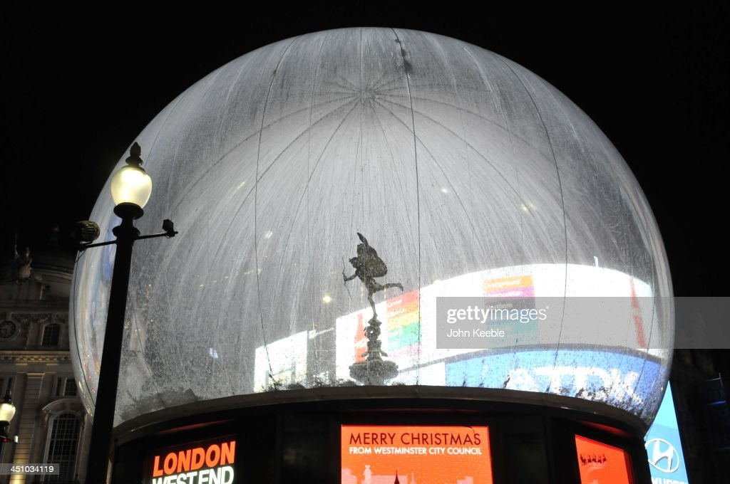 The Statue of Eros has been turned into a giant snow globe for the Christmas period on November 20, 2013 in London, England. Westminster council have created a 30ft snow globe encasing the statue of Eros at Piccadilly Circus as an anti-vandal device to protect the statue over the Christmas period.