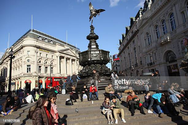 The statue of Eros stands in Piccadilly Circus in the West End on March 19 2012 in London England London's West End is synonymous with theatre...