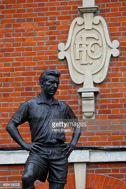 The statue of exFulham football player Johnny Haynes is seen ahead of the Sky Bet Championship match between Fulham and Ipswich Town at Craven...
