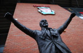 The statue of former Liverpool manager Bill Shankly is pictured prior to the Budweiser FA Cup third round match between Liverpool and Oldham Athletic...