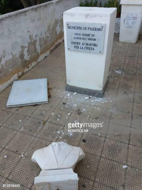 The statue of Giovanni Falcone destroyed by vandals in Palermo Sicily southern Italy in the Zen district