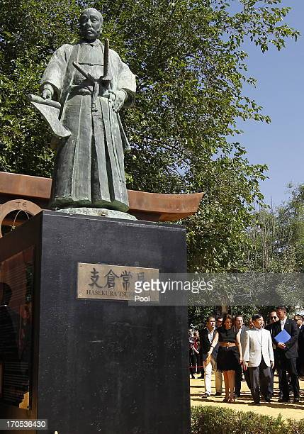 The statue of Hasekura Tsunenaga the samurai who led the Keicho Embassy and came to Seville 400 years ago stands near Prince Naruhito of Japan as he...