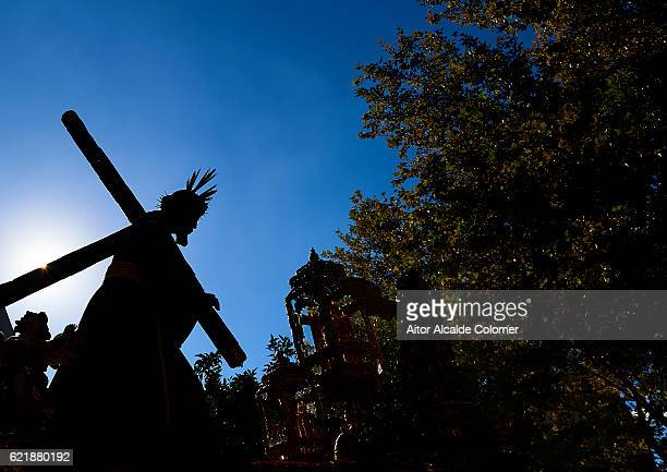 The statue of 'Jesus del Gran Poder' is carried in procession from Sevilla cathedral to the Jesus del Gran Poder Basilica on November 6 2016 in...
