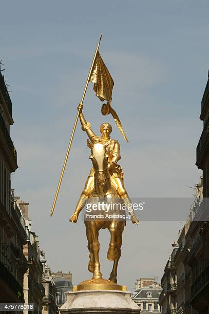 The statue of Joan of Arc by Emmanuel Fremiet on the Place des Pyramides facing the Rue de Rivoli in Paris
