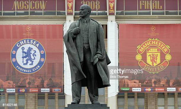 The statue of Lenin with the two teams club badges either side before the start of the UEFA Champions League Final between Manchester United and...