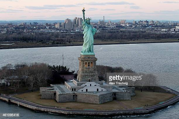 The Statue of Liberty is seen from above on December 30 2014 in New York City