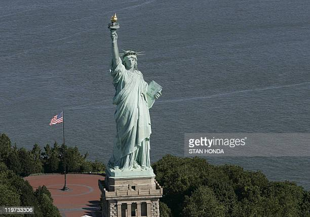 The Statue of Liberty is seen in this aerial view 01 July 2007 in New York The statue is on a list of candidates for the New 7 Wonders of the World...